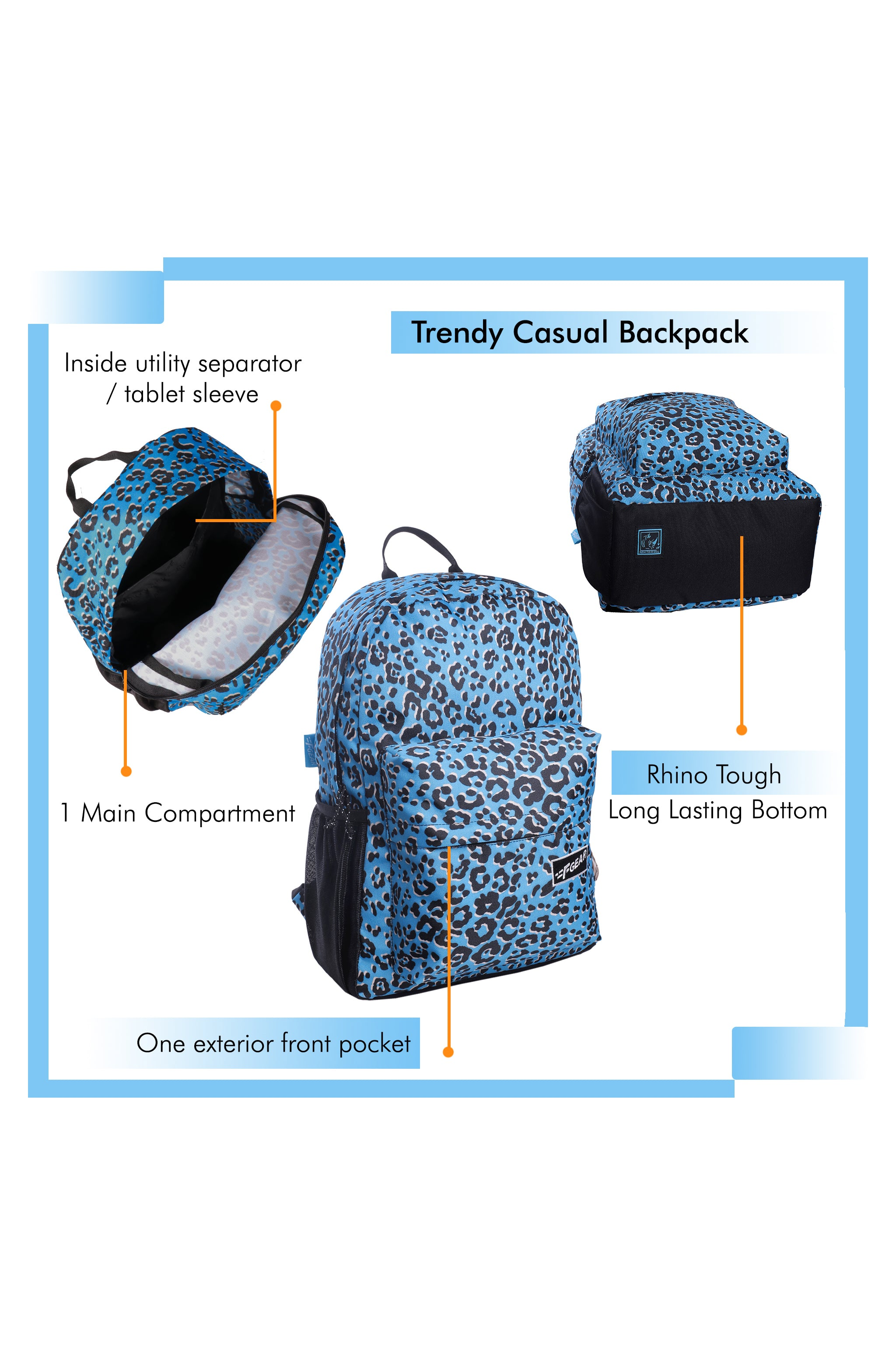 F Gear 23 Ltrs Emprise Animal Print Blue Casual Backpack (3358)