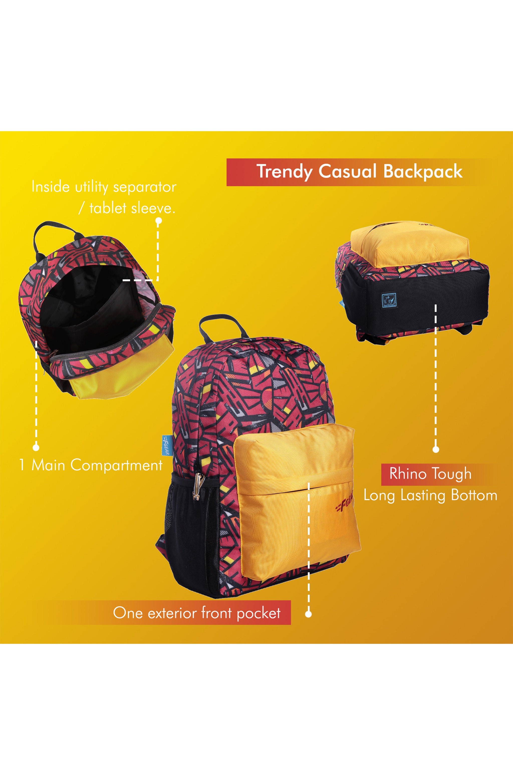 F Gear 23 Ltrs Emprise Wordly Red, Yellow Casual Backpack (3367)
