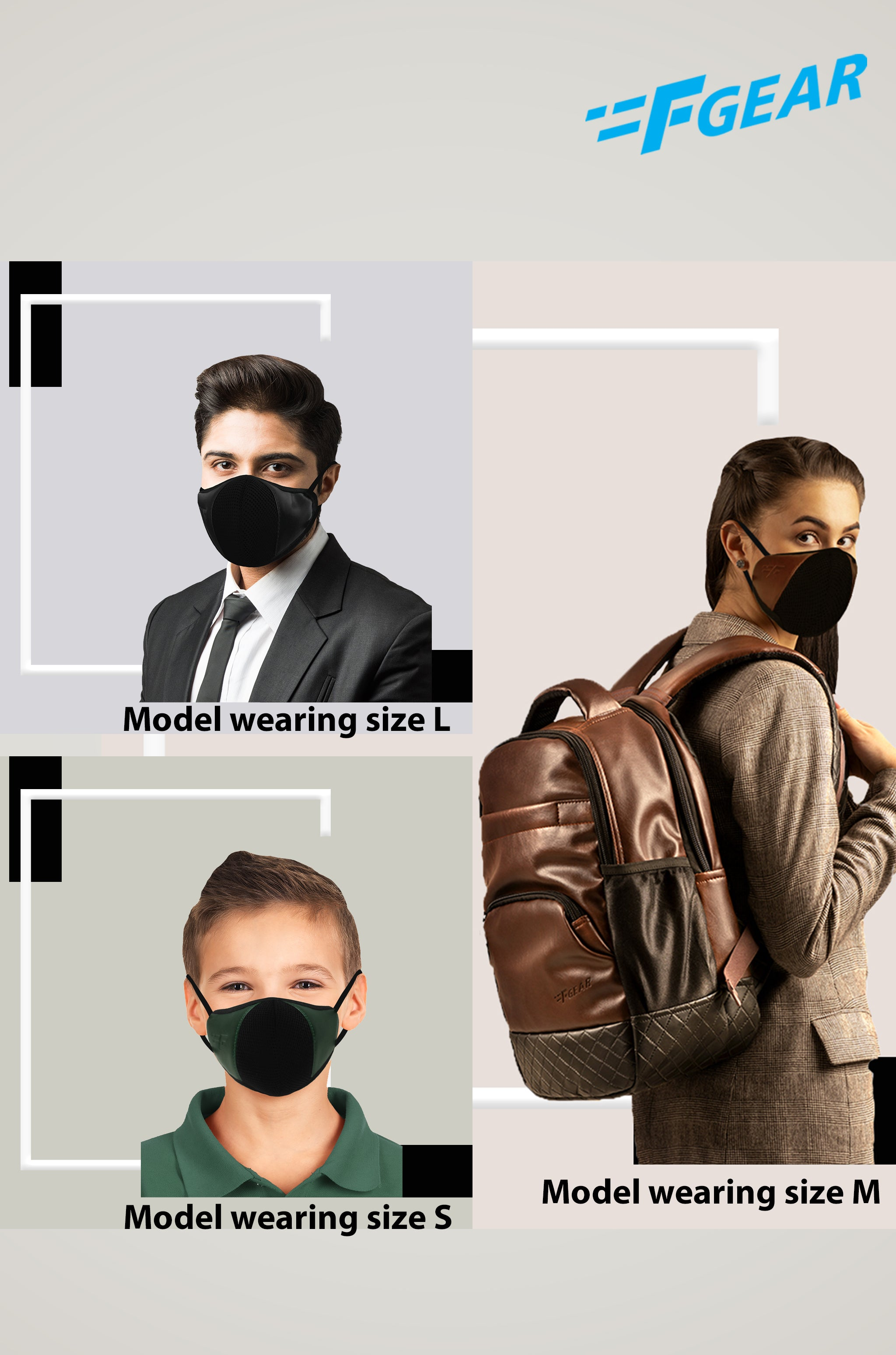F Gear Luxur Black Brown Olive Green F95 Leatherette Mask 7 layer ISO CE SITRA lab certified >95% Bacteria Filtration PACK-3