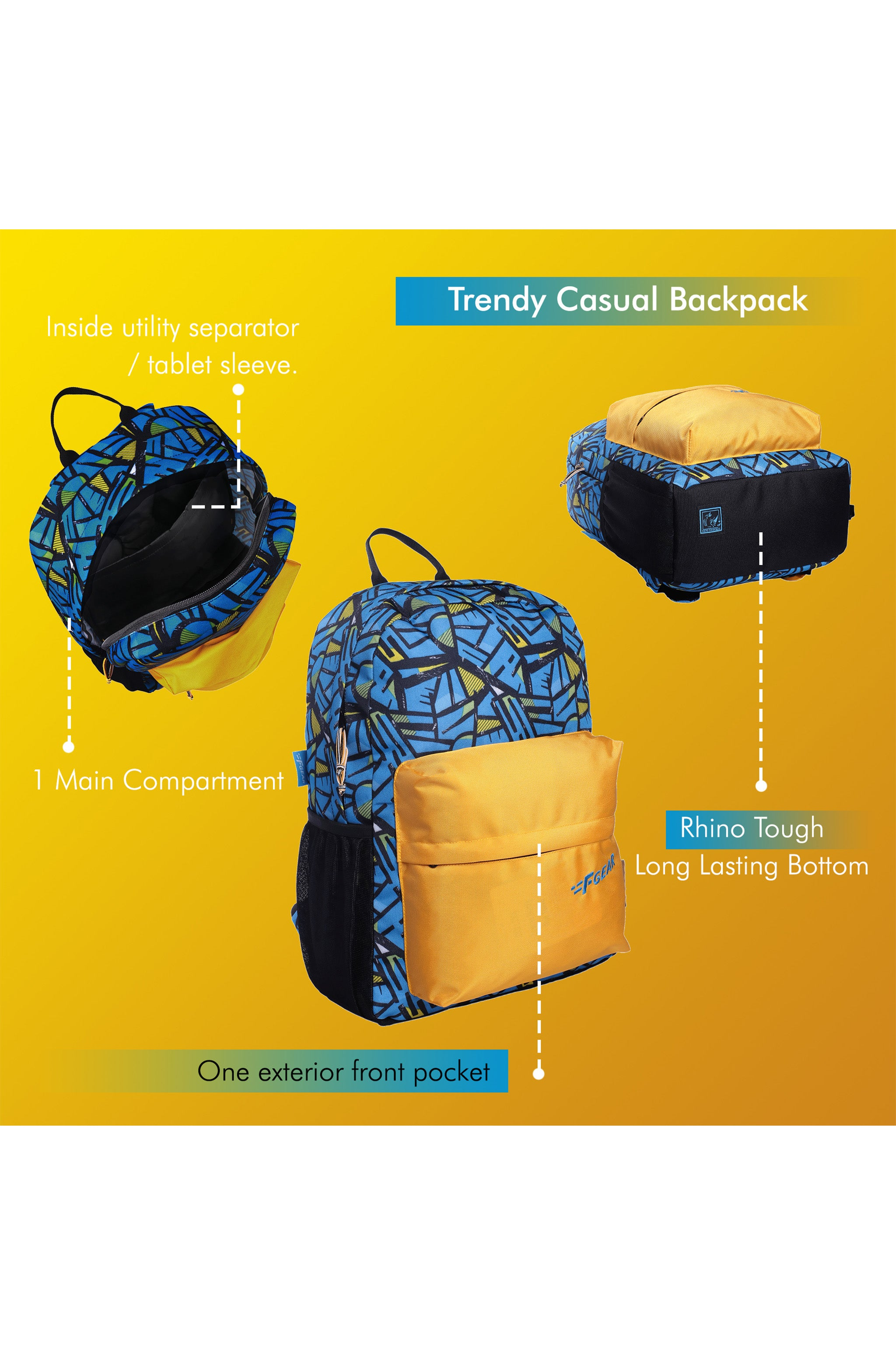 F Gear 23 Ltrs Emprise Wordly Blue, Yellow Casual Backpack (3366)