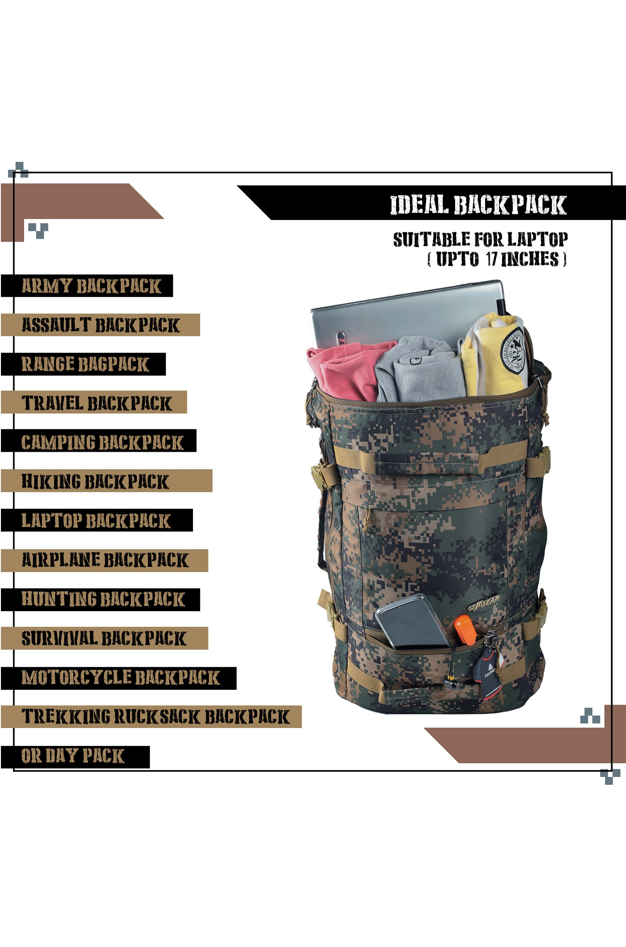 F Gear 23 Ltrs Raptor Marpat WL Digital Camo Laptop Backpack (3288)