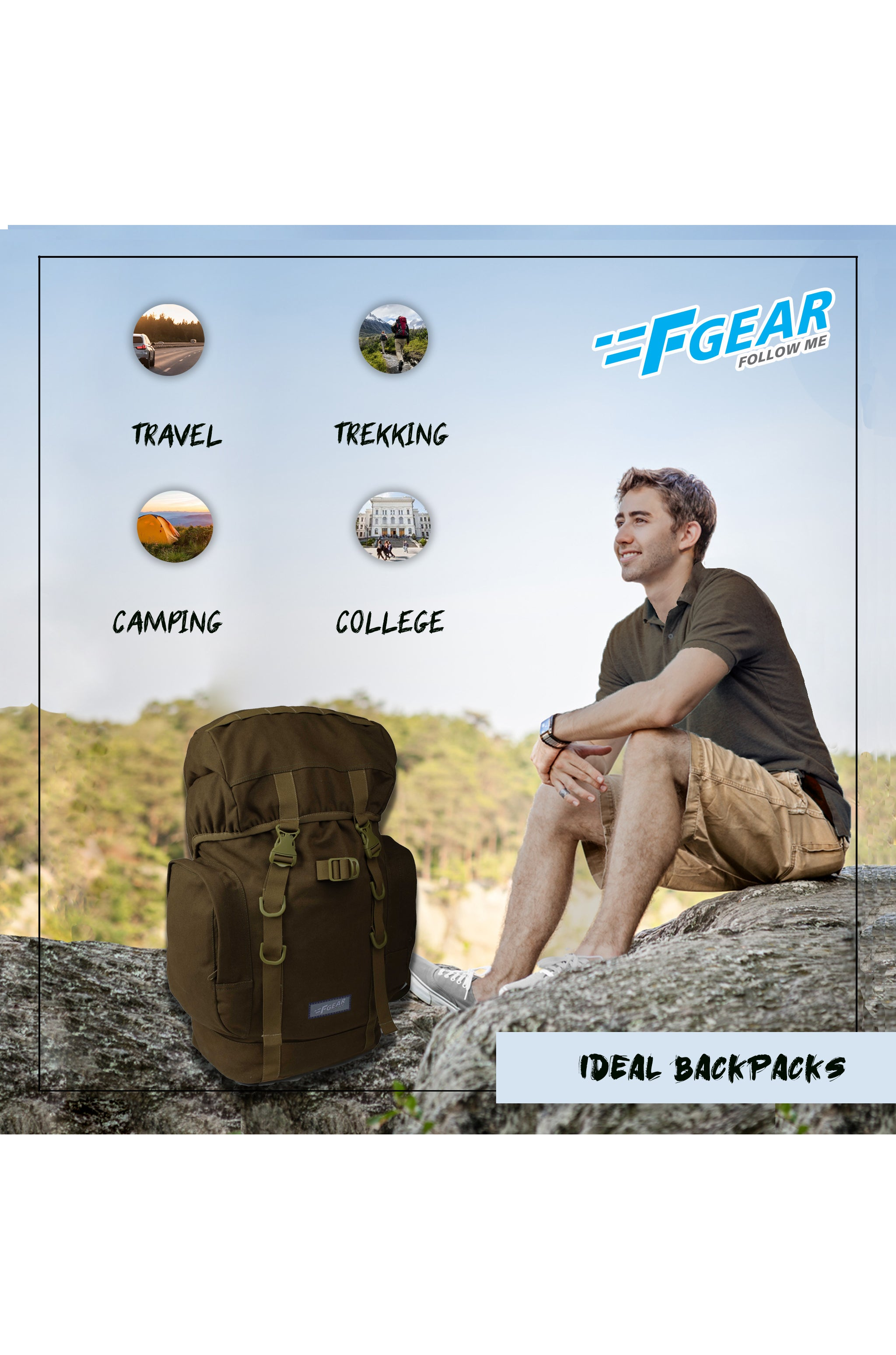 F Gear Attitude Olive Canvas 30 Liters Backpack