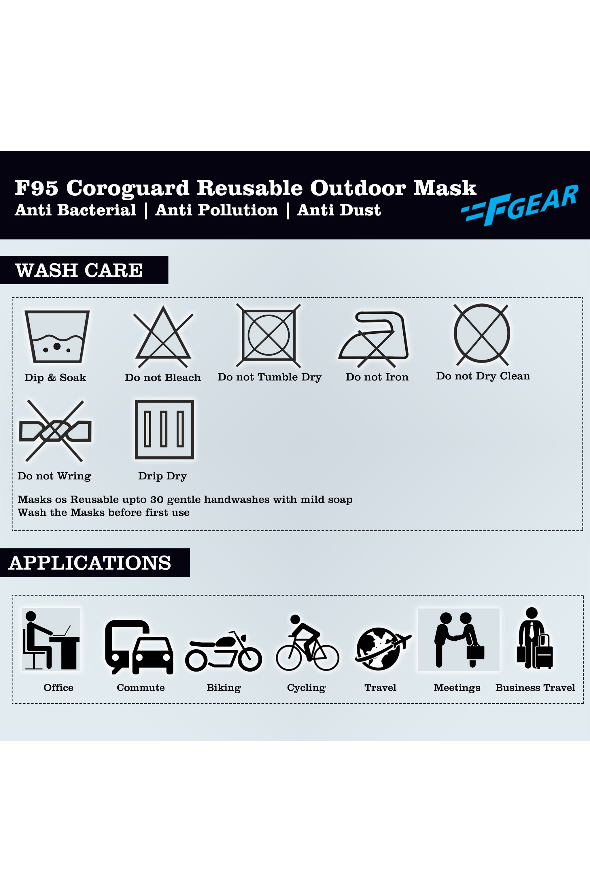 F Gear Coroguard F95 Mask Black-Pavement-Wet Weather-N blue 7 layer ISO CE SITRA lab certified >95% Bacteria Filtration PACK-4