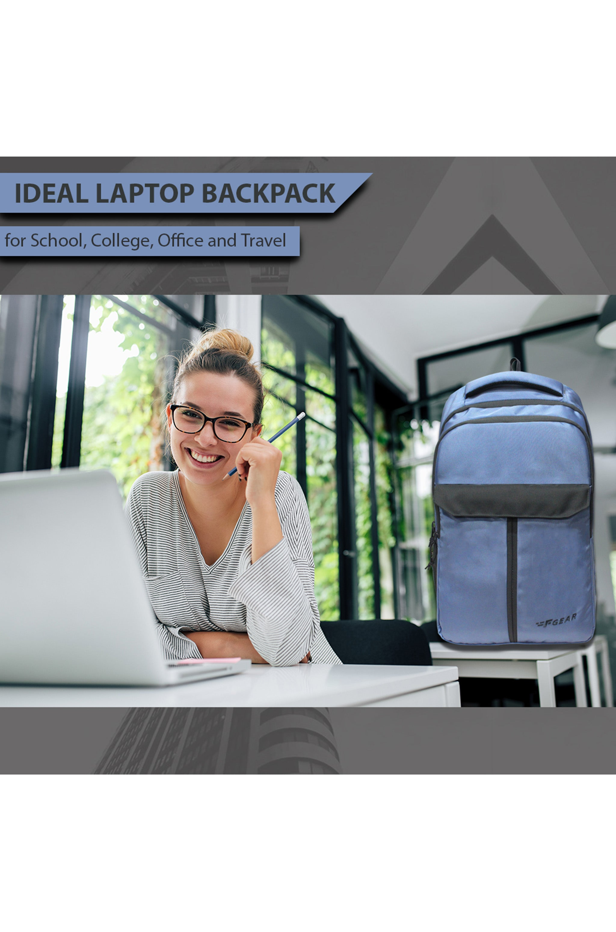 F Gear Amethyst 27 Ltrs Lavender Lustre Laptop Backpack (3442)