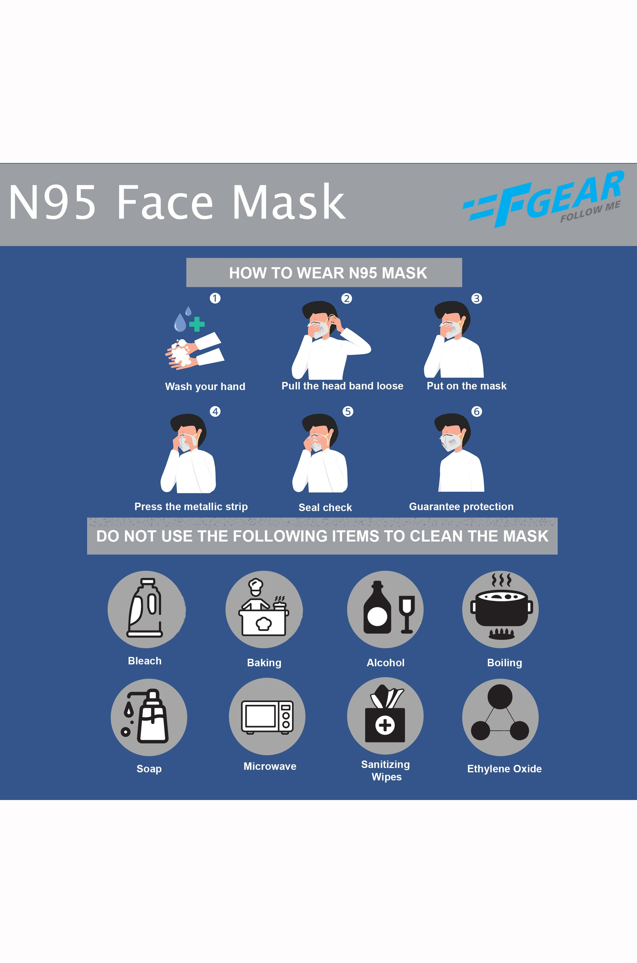 F Gear N95 Mask Pack of 3 (3640)