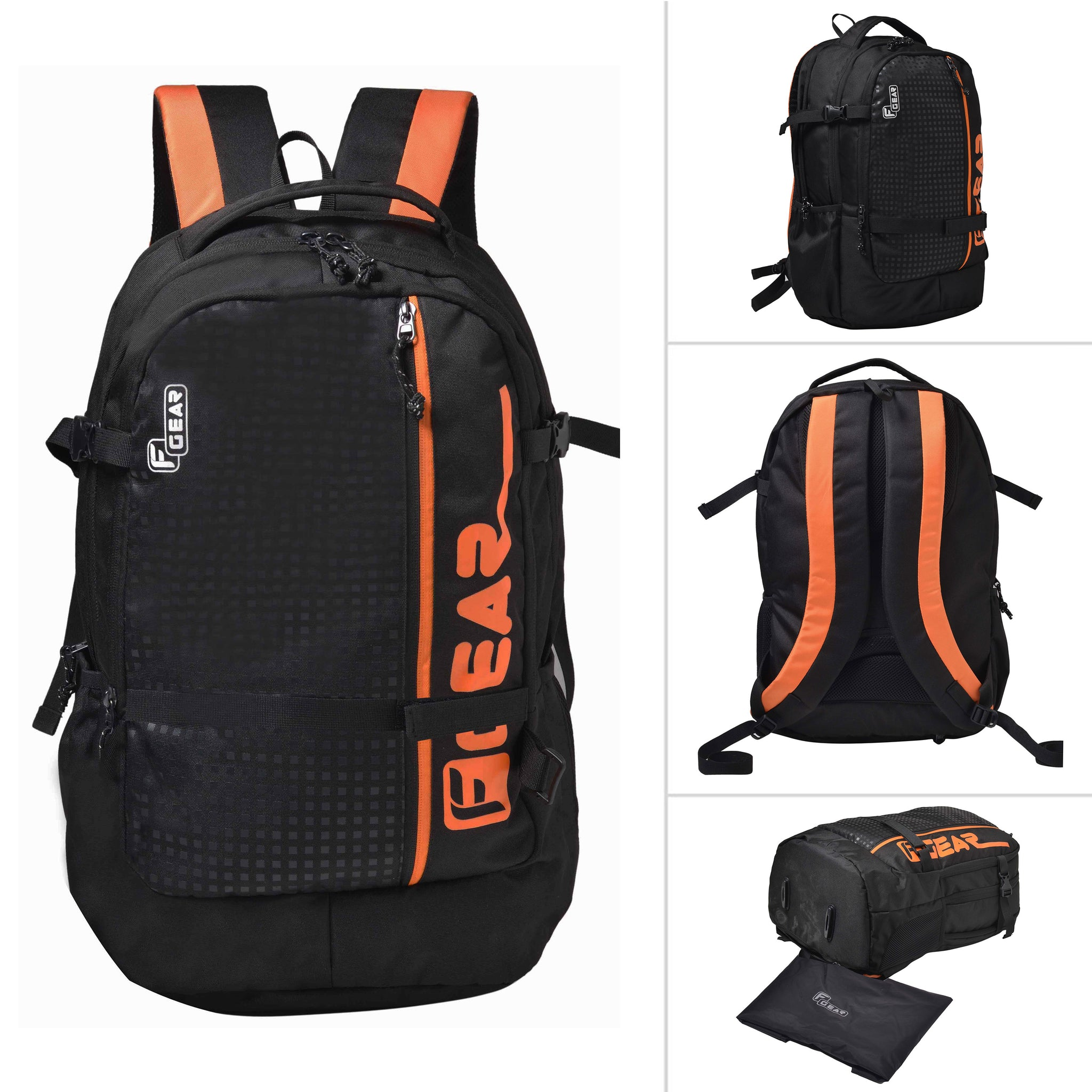 F Gear Boshida 31 Liters Orange Trekking Laptop Backpack With Rain Cover (2623)
