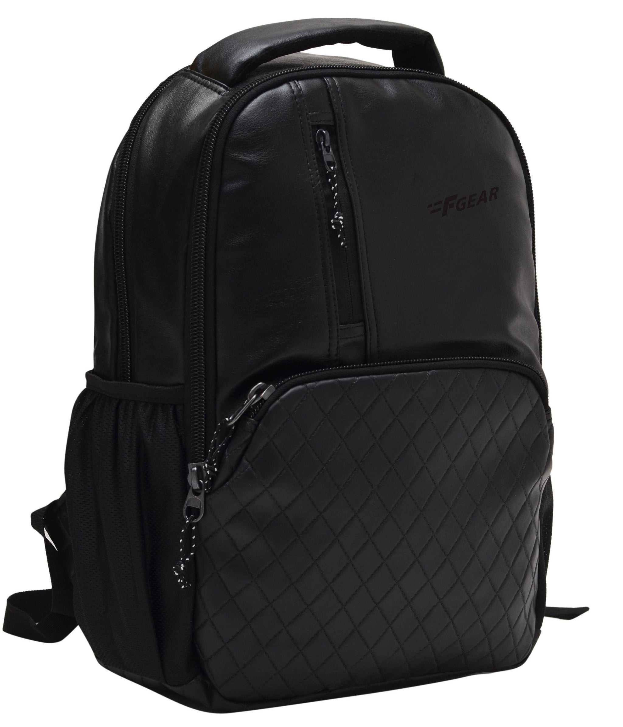 F Gear CEO Black 25 liter Artificial Leather Laptop Backpack (2513)