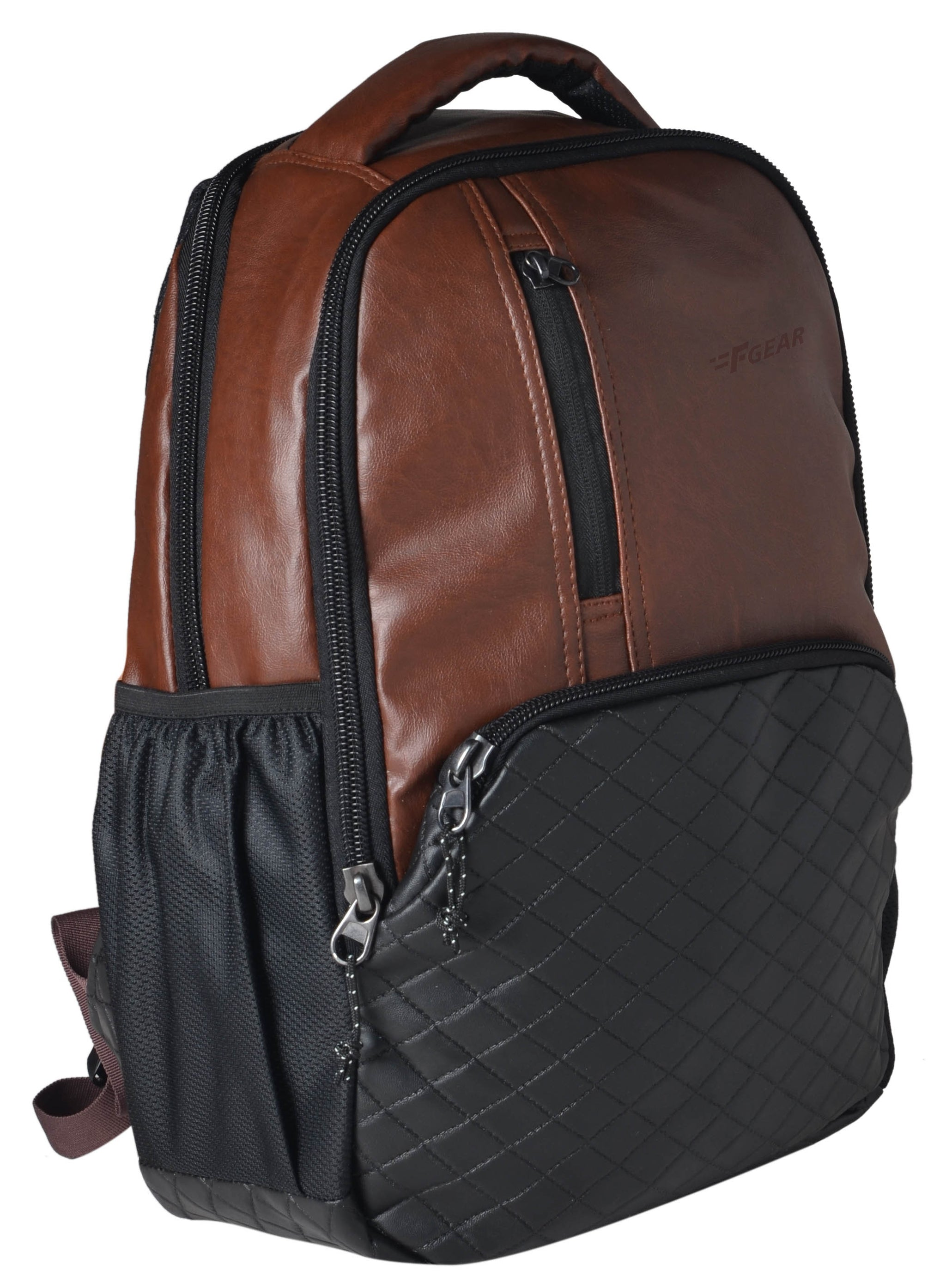 F Gear CEO 25 Ltrs Brown Artificial Leather Laptop Backpack (2512)