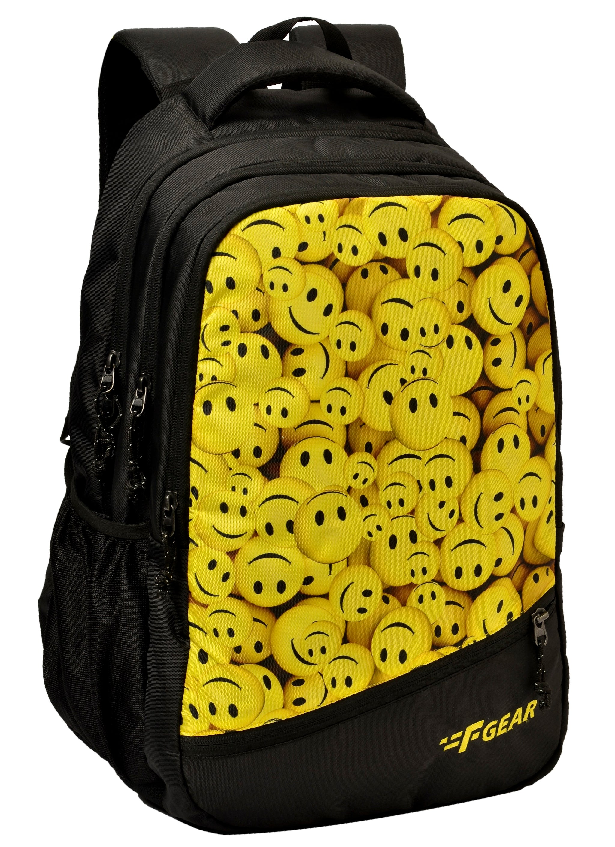 F Gear Smiley 35 Liters Backpack with Rain Cover (Black, Yellow)