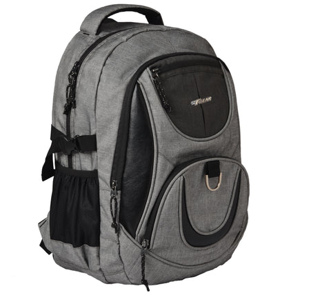 F Gear Axe 31 Liters Laptop Backpack with Rain Cover (Melange Light Grey)
