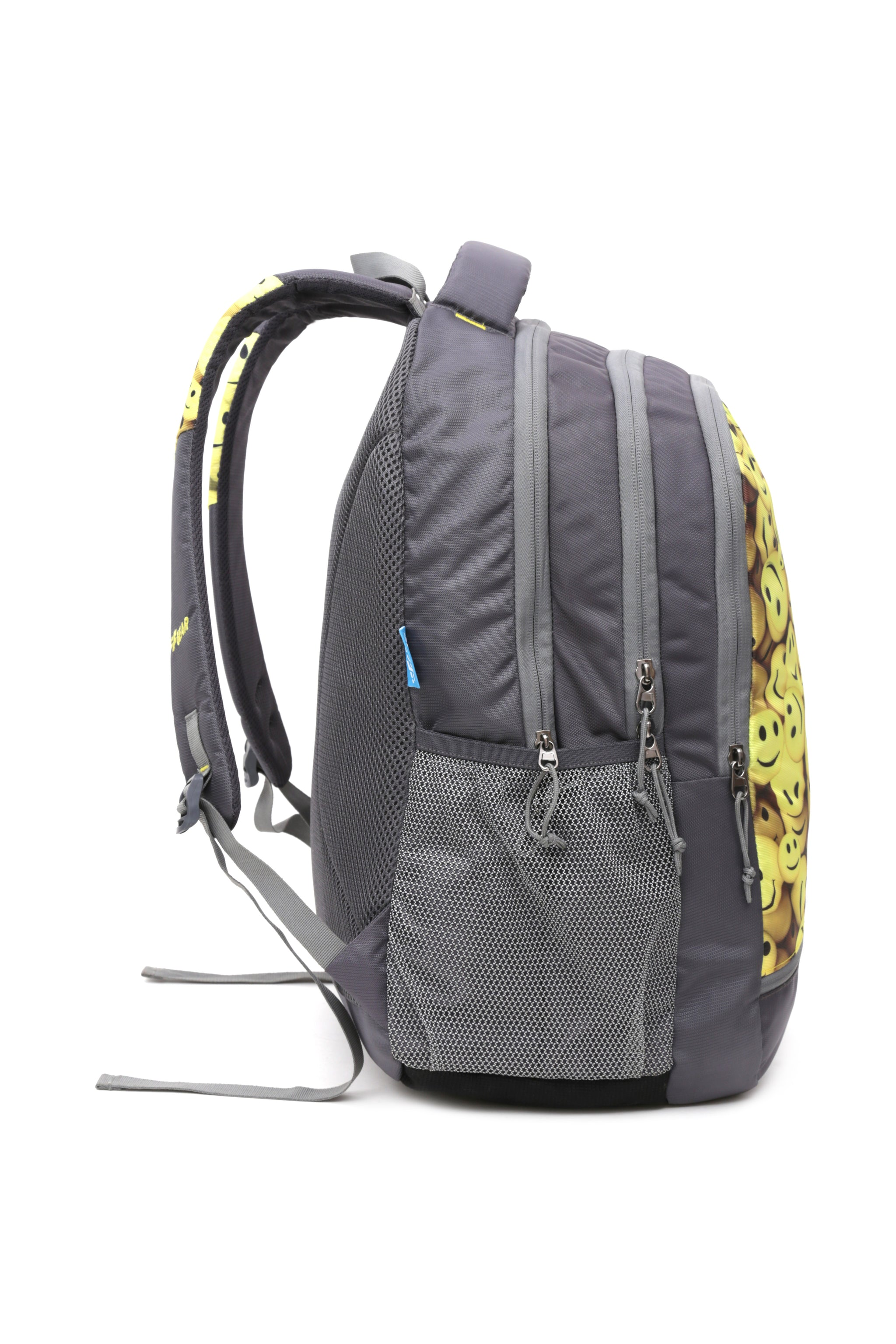 F Gear Smiley 35 Liters Backpack with Rain Cover (Grey, Yellow)