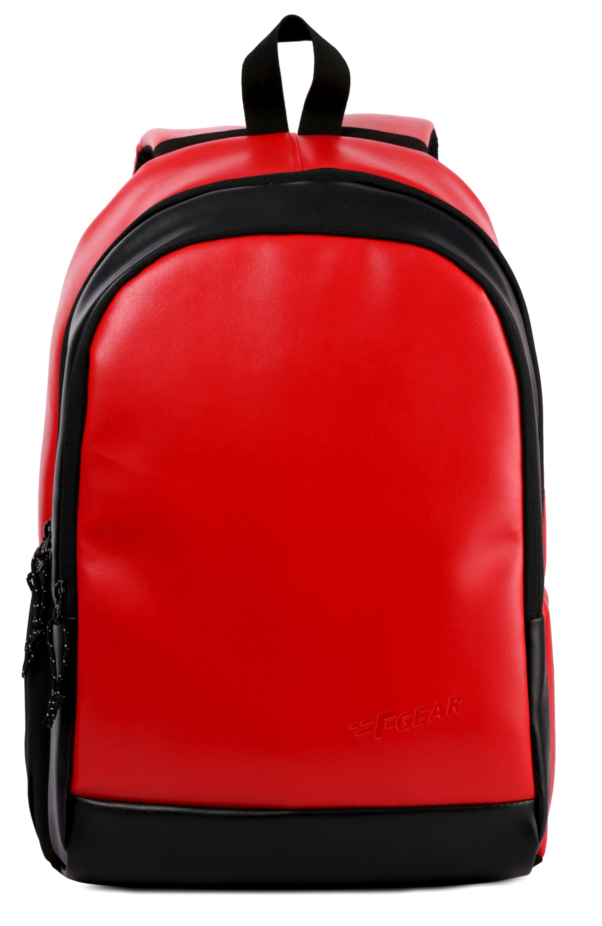 F Gear Castle Art 24 Liters Leather Backpack (Red,Black )