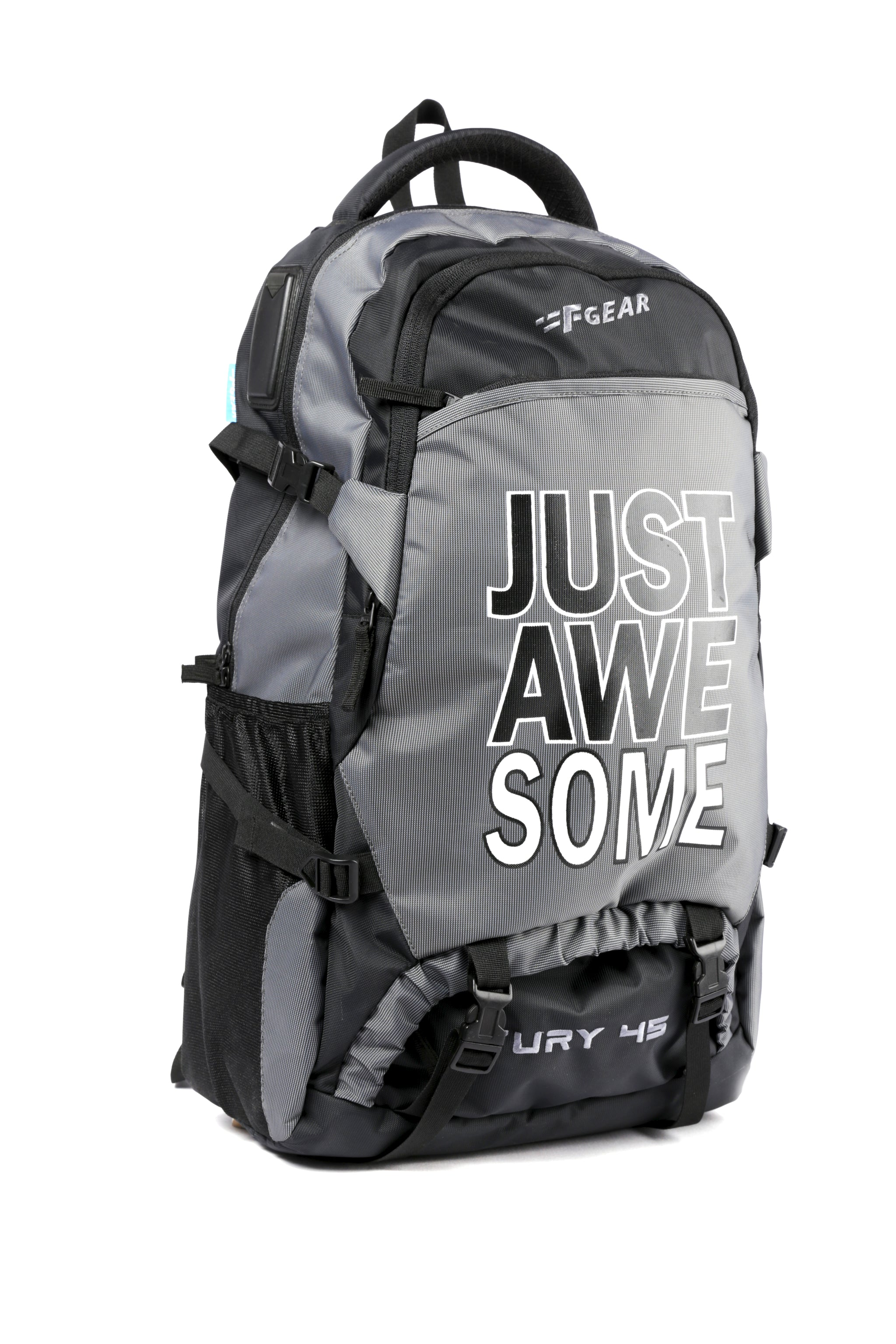 F Gear Fury Polyester 46 Liters Trekking Backpack (Grey, Black)