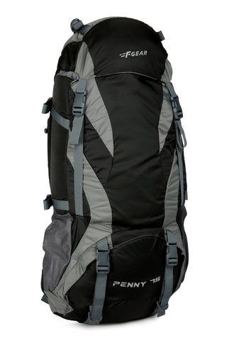F Gear Penny 75 Ltrs Black Gry Rucksack with Rain Cover (3218)
