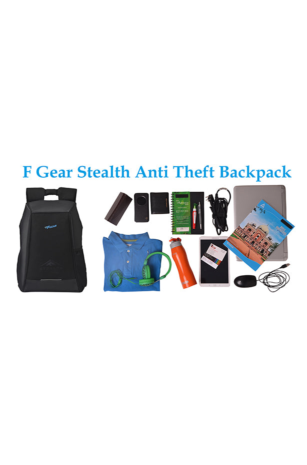 F Gear Stealth Anti Theft 25 Liters Laptop Backpack Black (2680)