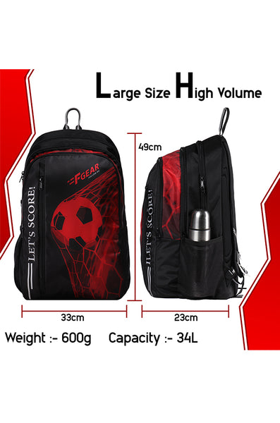 F Gear 34 Ltrs Lets Score Digi Red School Backpack (3312)