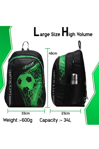 F Gear 34 Ltrs Lets Score Digi Green School Backpack (3310)