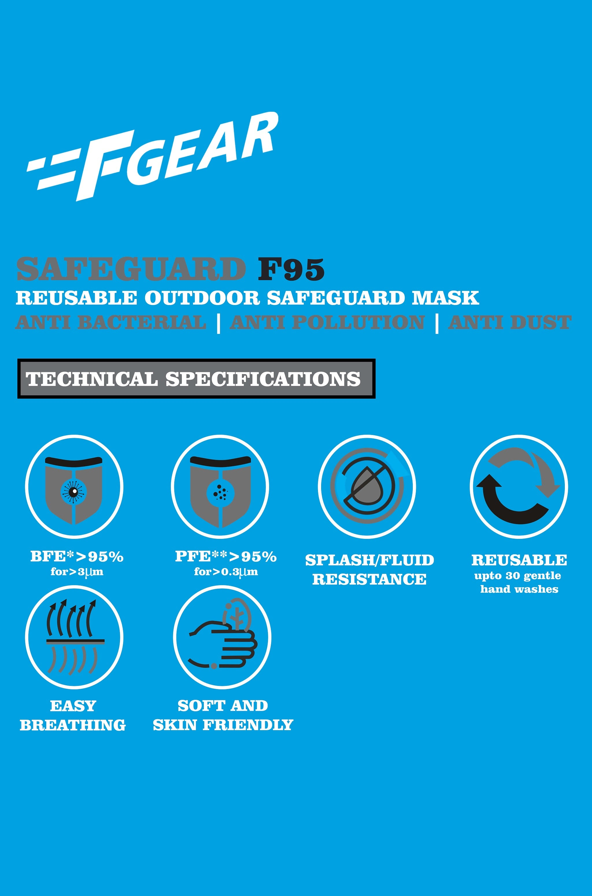 F Gear Safeguard F95 Outdoor Mask (Pack of 5)