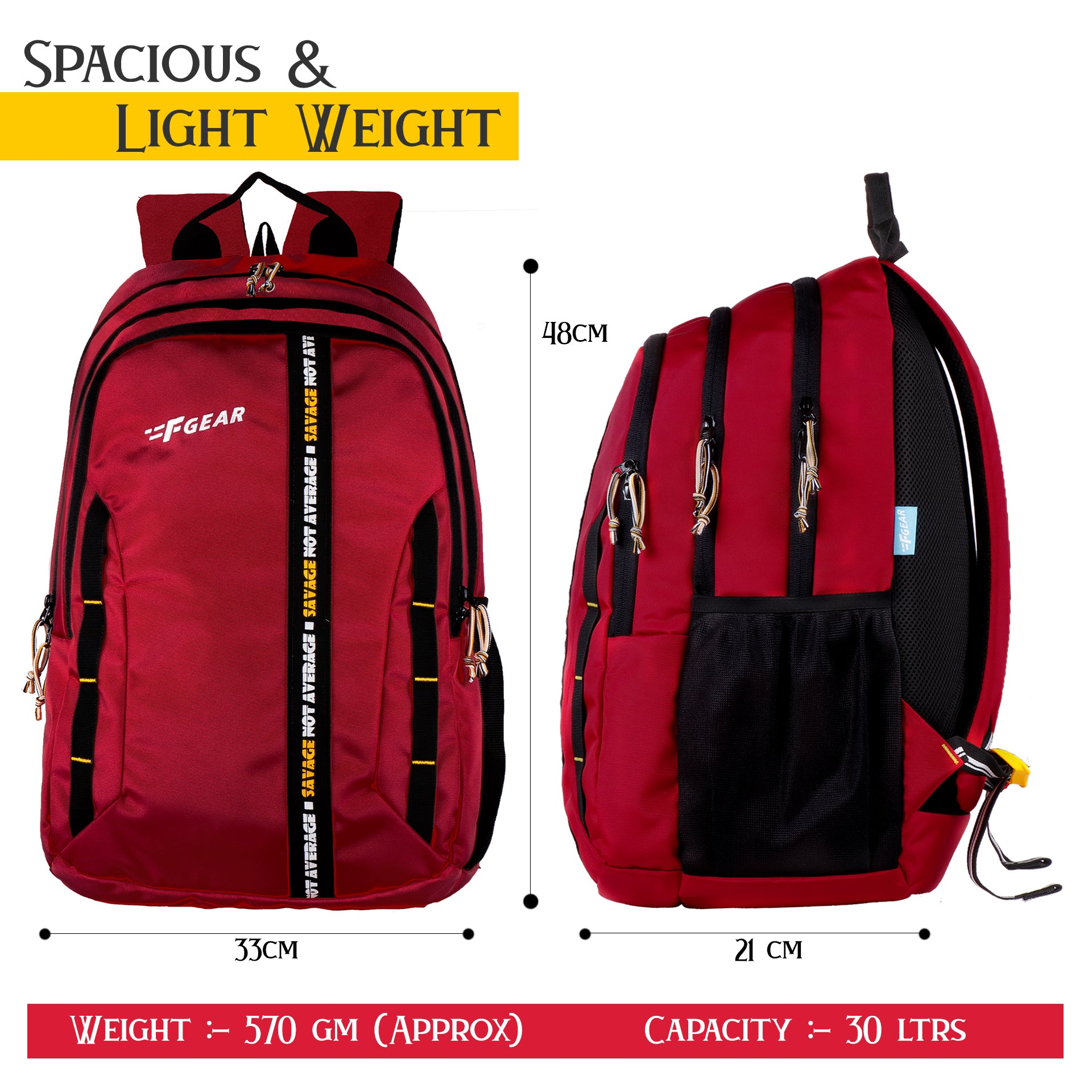 F Gear Raider guc red 30 Liter Backpack with Rain Cover (3307)