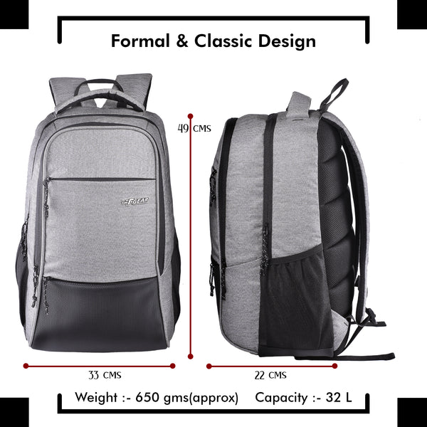 F Gear Arigato 32 Ltrs  Melange Light Grey Laptop Backpack (3378)