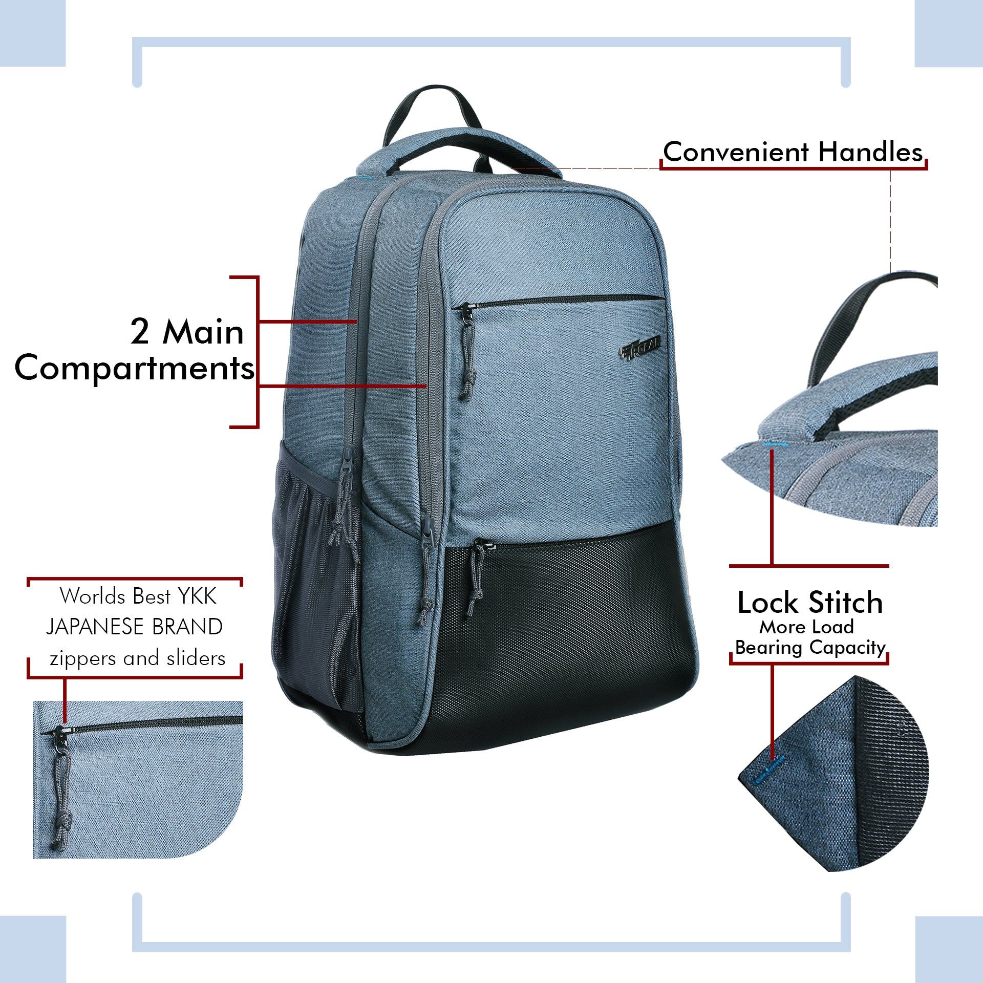 F Gear Arigato 32 Ltrs  Melange Light Blue Laptop Backpack (3377)