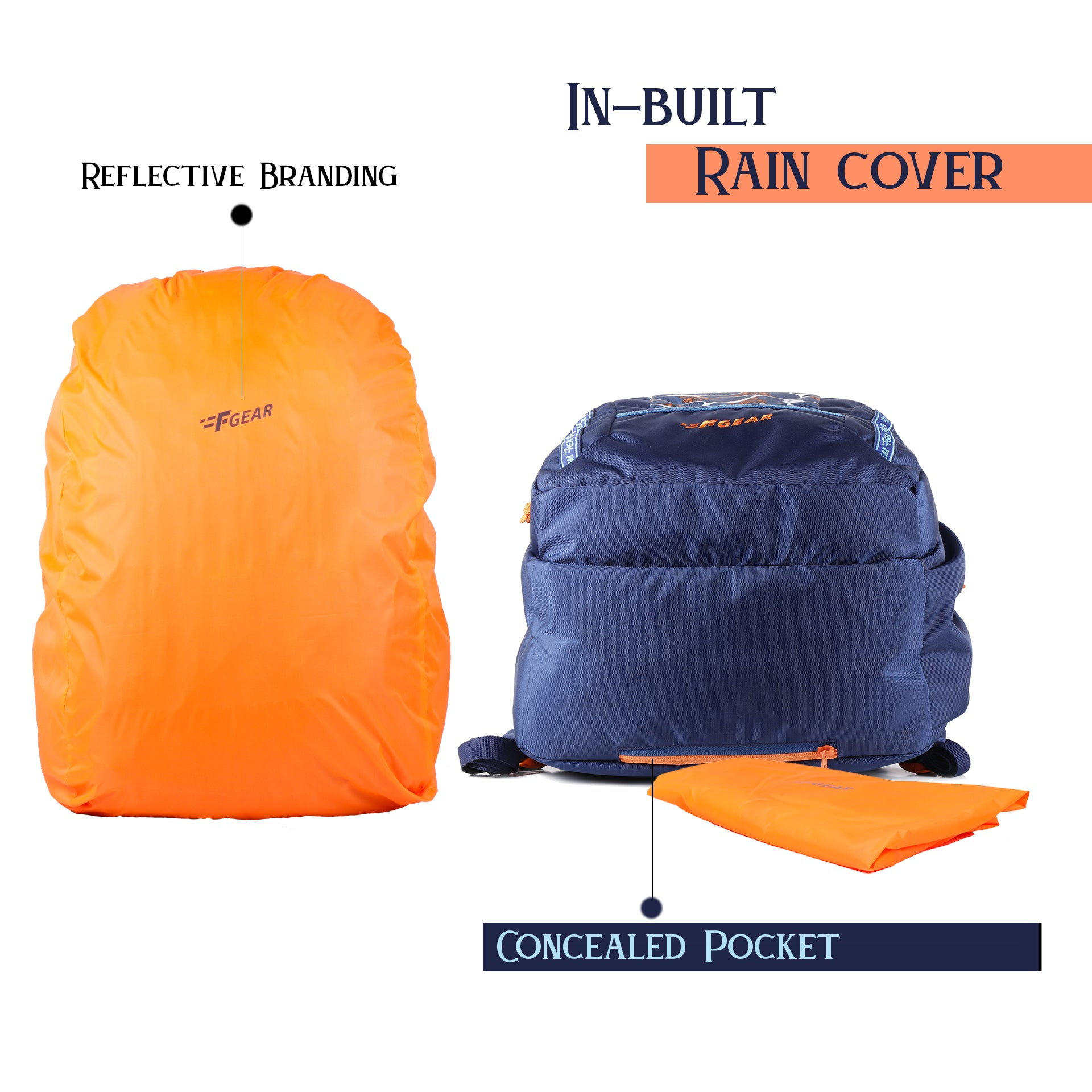 F Gear Raider Bfly Blue 32 Liter Backpack with Rain Cover (3309)
