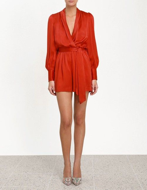 Wrap Playsuit - Red