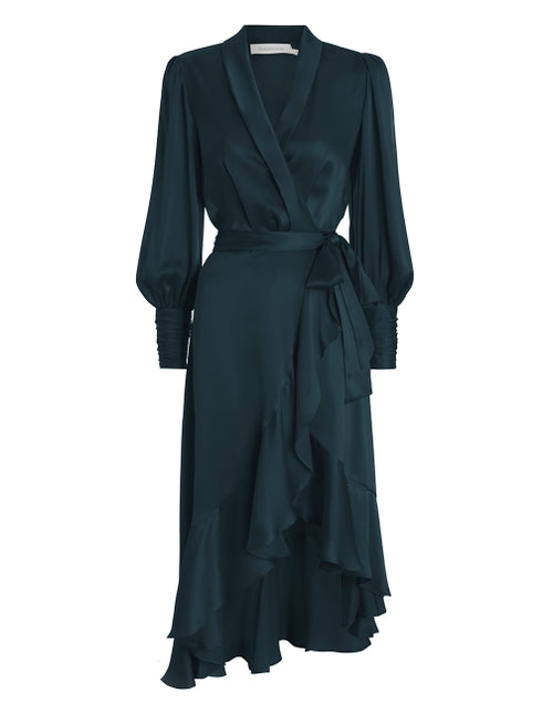 Silk Wrap Midi Dress - Moss