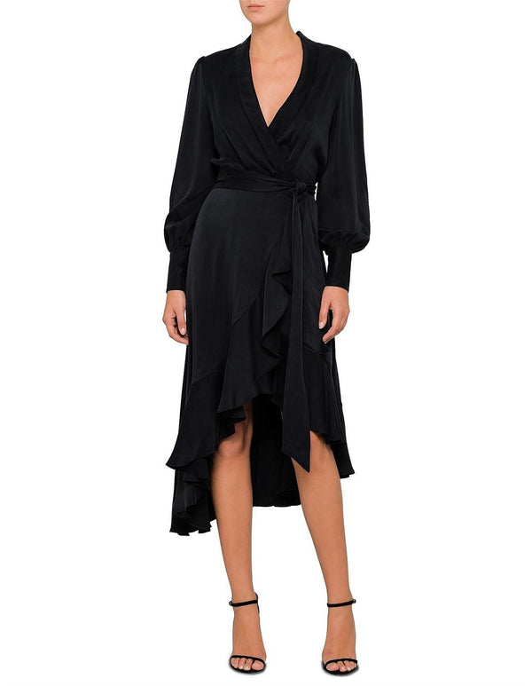 Silk Wrap Midi Dress - Black