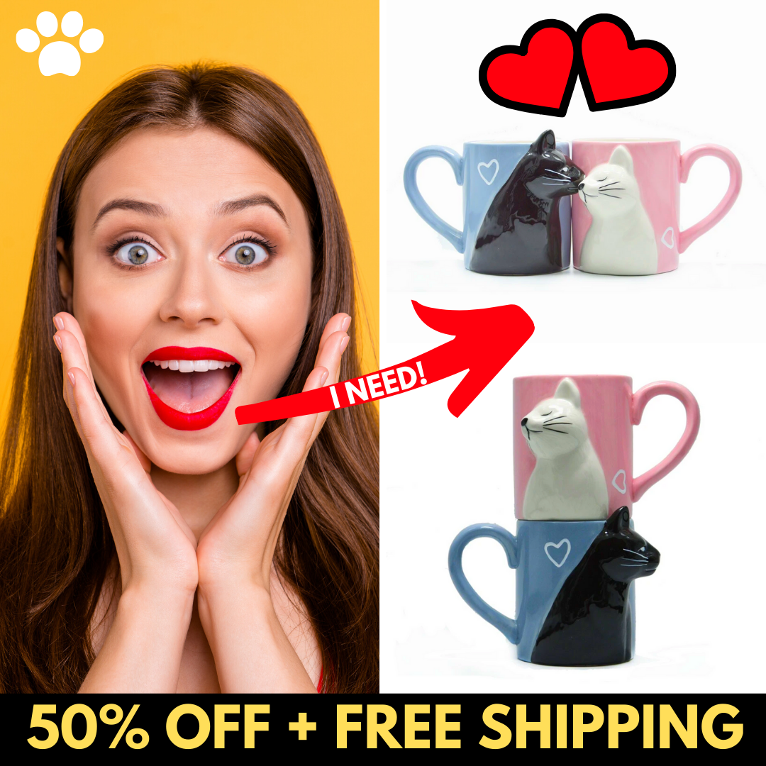 2pc Kiss Cat Handmade Mugs [Free Shipping]