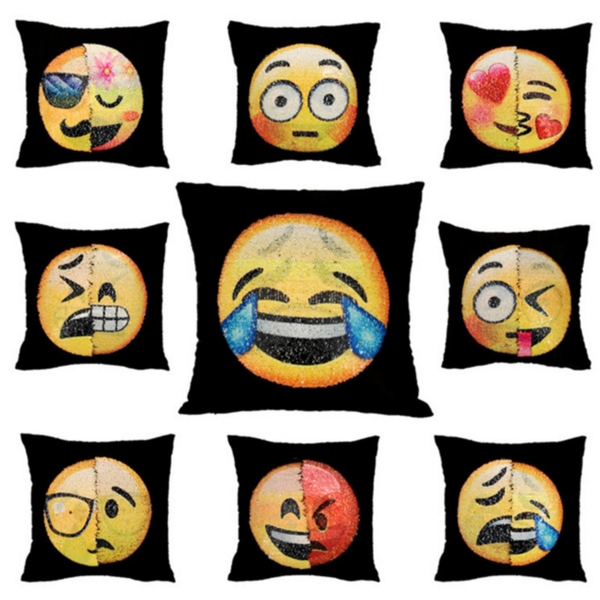 Changing Emoji Pillow Cushion Cover 40cm x 40cm / Our International Warehouse / 1 ClickClickShip.com