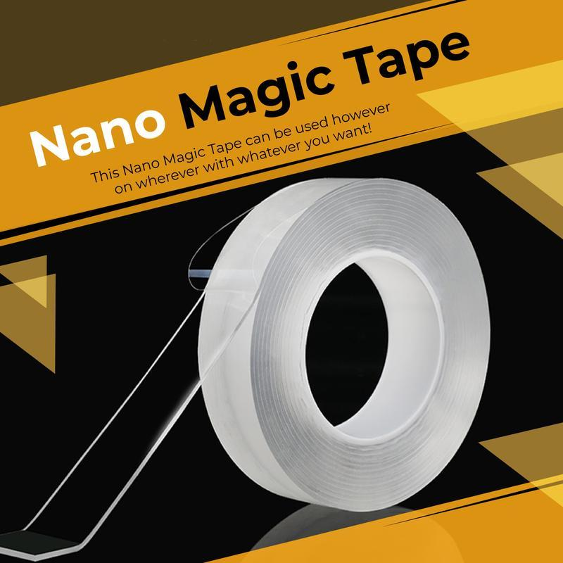 Nano Magic Tape - Reusable Double Sided Adhesive Traceless Tape Removable Sticker Washable Loo