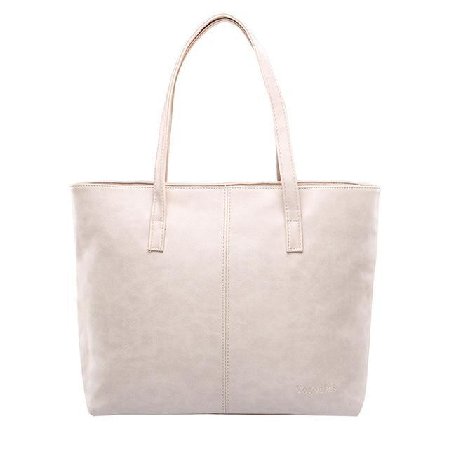 Luxury Tote Shoulder Handbag Beige ClickClickShip.com