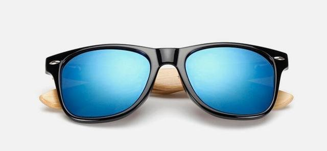 Unisex Wooden Sunglasses Black blue mercury ClickClickShip.com