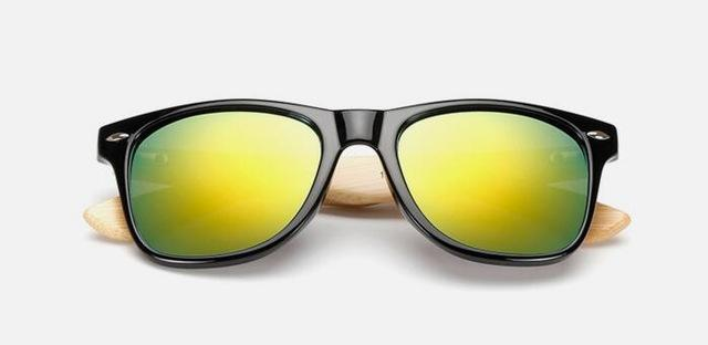 Unisex Wooden Sunglasses Black gold mercury ClickClickShip.com