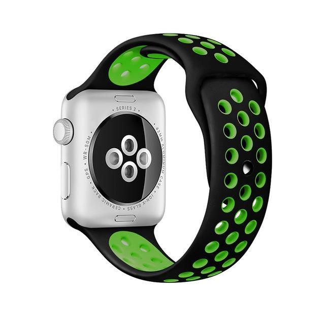 Sport Type Apple Watch Replacement Watch Strap for Apple Watch Bands Series 3 2 1 Black Green / 38mm SM ClickClickShip.com