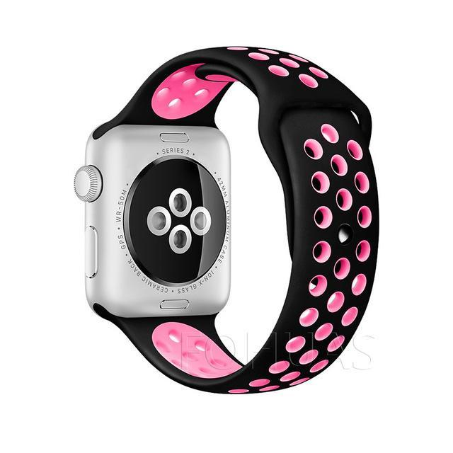 Sport Type Apple Watch Replacement Watch Strap for Apple Watch Bands Series 3 2 1 Black Pink / 38mm SM ClickClickShip.com