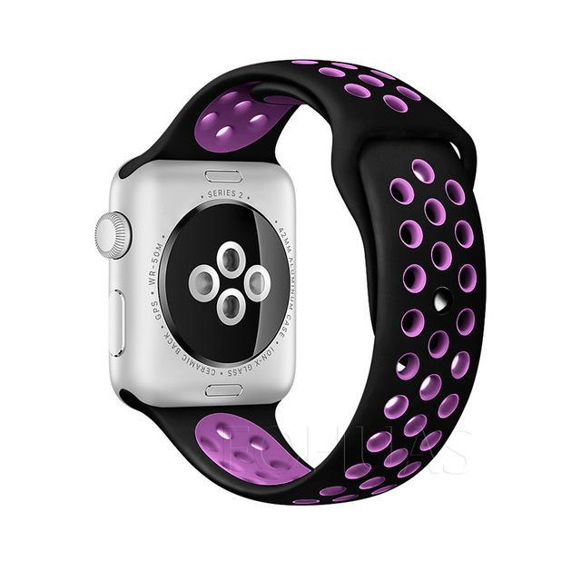 Sport Type Apple Watch Replacement Watch Strap for Apple Watch Bands Series 3 2 1 Black Purple / 38mm SM ClickClickShip.com