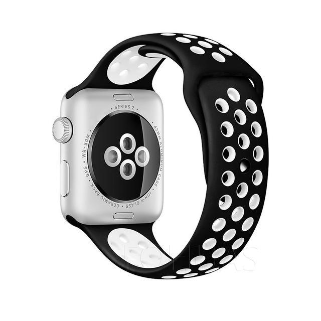 Sport Type Apple Watch Replacement Watch Strap for Apple Watch Bands Series 3 2 1 Black White / 38mm SM ClickClickShip.com