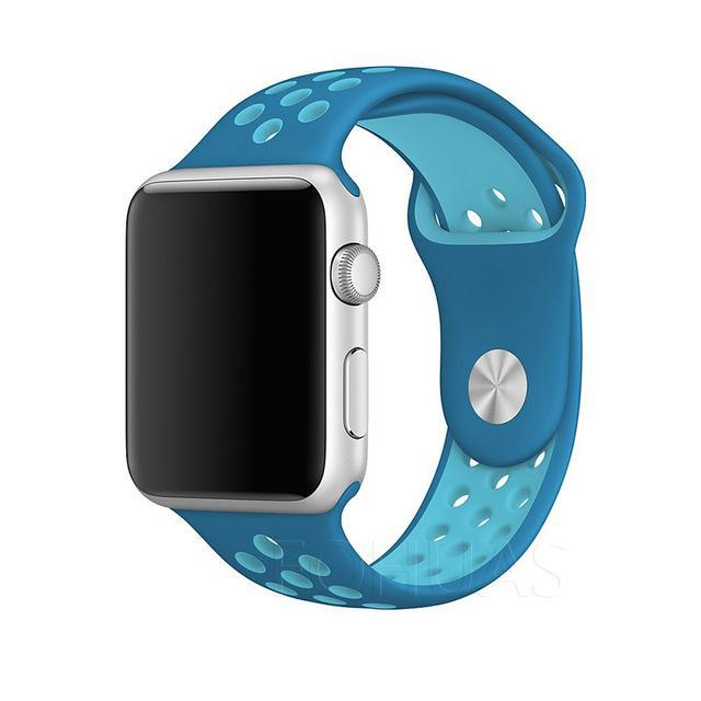 Sport Type Apple Watch Replacement Watch Strap for Apple Watch Bands Series 3 2 1 Blue Light blue / 38mm SM ClickClickShip.com
