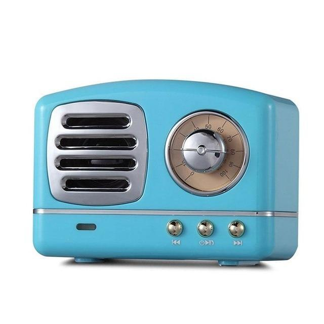 Vintage Retro Bluetooth Speaker Blue ClickClickShip.com