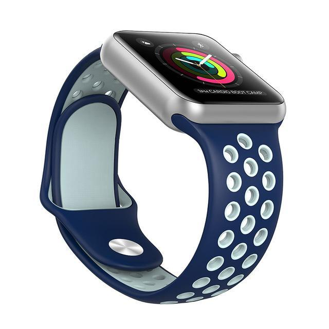 Sport Type Apple Watch Replacement Watch Strap for Apple Watch Bands Series 3 2 1 Blue White / 38mm SM ClickClickShip.com