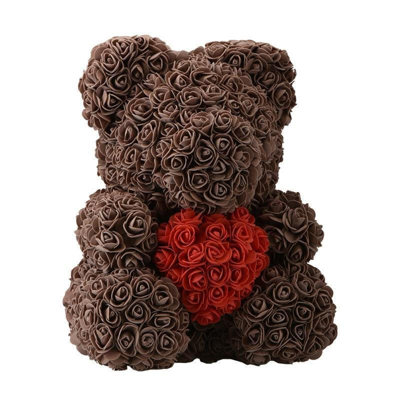 Rose Teddy Bear Brown Bear Red Heart Large (40cm x 30cm) ClickClickShip.com