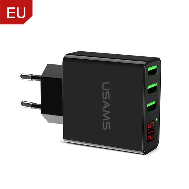 3 Port USB Phone Charger w/LED Display EU/US Plug China / EU Black ClickClickShip.com