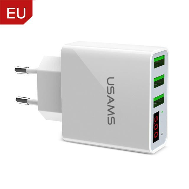 3 Port USB Phone Charger w/LED Display EU/US Plug China / EU White ClickClickShip.com