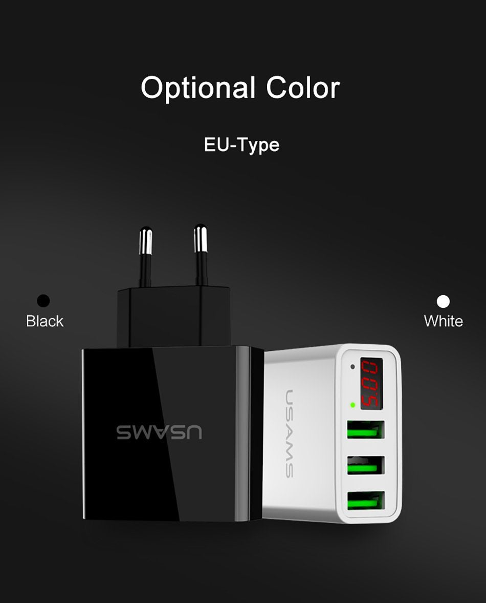3 Port USB Phone Charger w/LED Display EU/US Plug China / US Black ClickClickShip.com