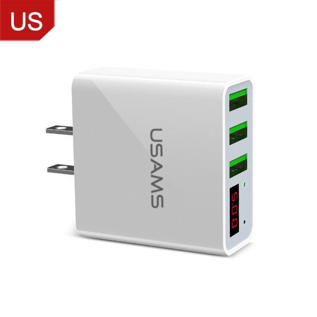 3 Port USB Phone Charger w/LED Display EU/US Plug China / US White ClickClickShip.com