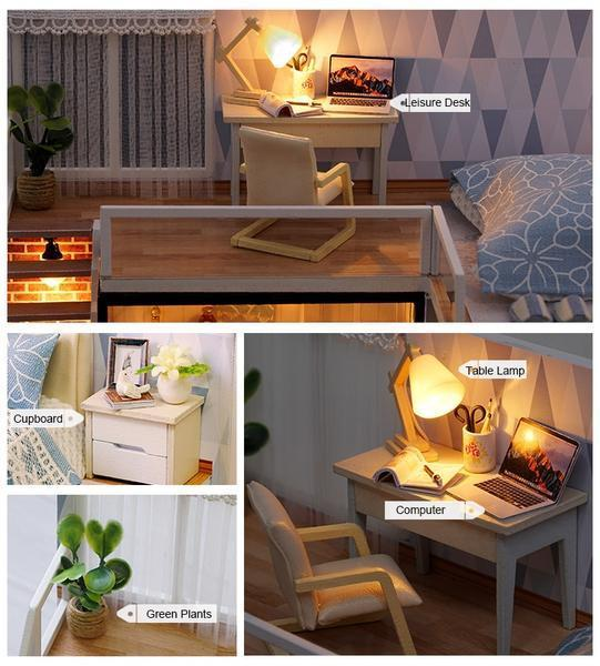 DIY Miniature Wooden DollHouse Free Shipping / Blue DollHouse ClickClickShip.com