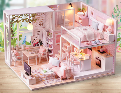 DIY Miniature Wooden DollHouse Free Shipping / Pink DollHouse ClickClickShip.com