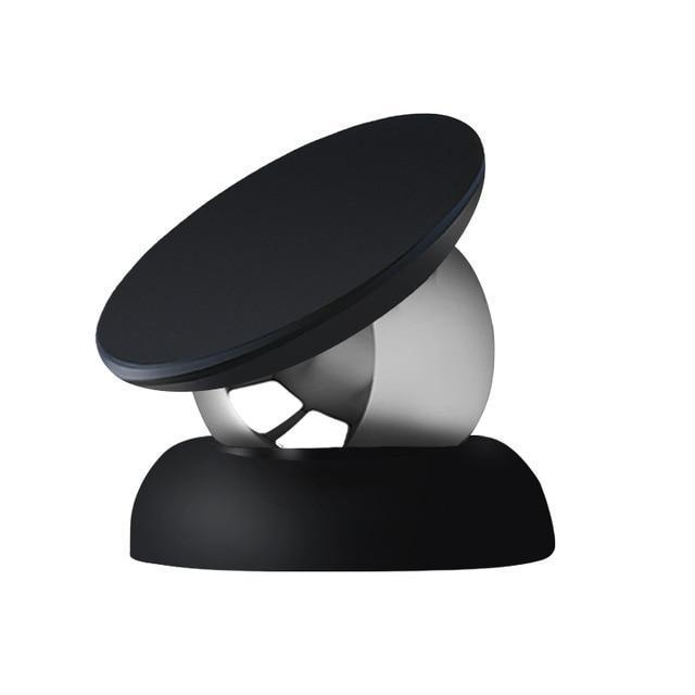 360 Degree Magnetic Phone Holder Full Black Top With Black Base ClickClickShip.com
